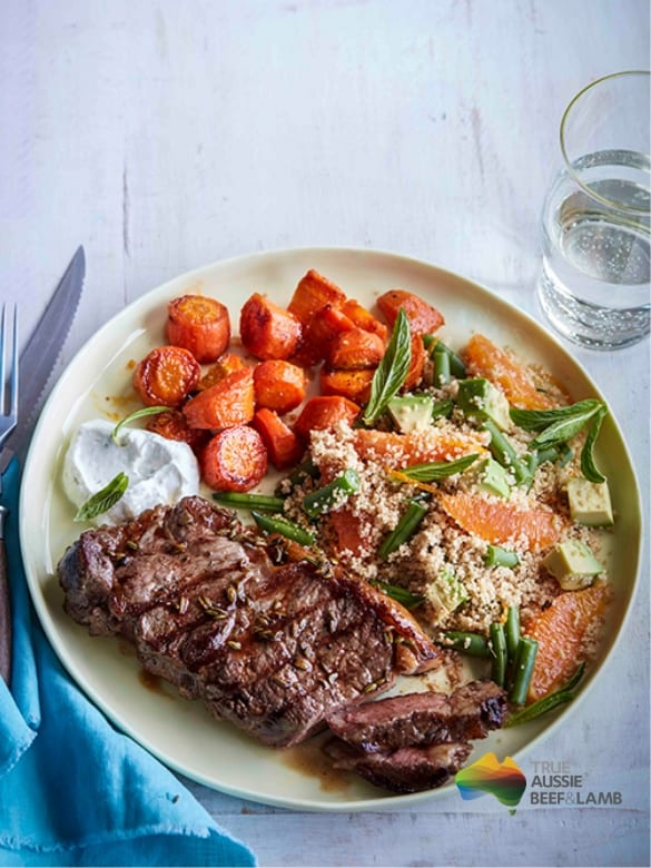 Chargrilled Porterhouse with spiced carrots and salad