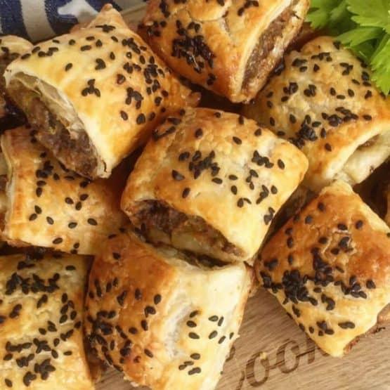 Homemade beef sausage rolls