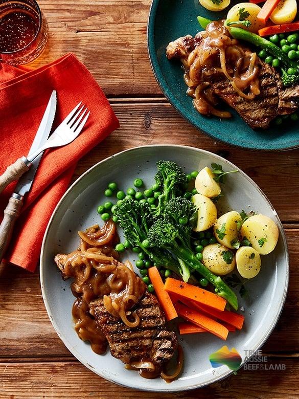 Porterhouse steaks with onion gravy