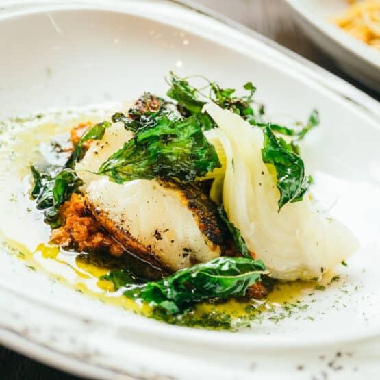 Pan-seared Barramundi in Lime and Garlic Broth