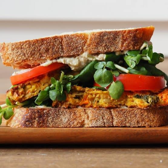 Vegetable Burger with Homemade Hummus