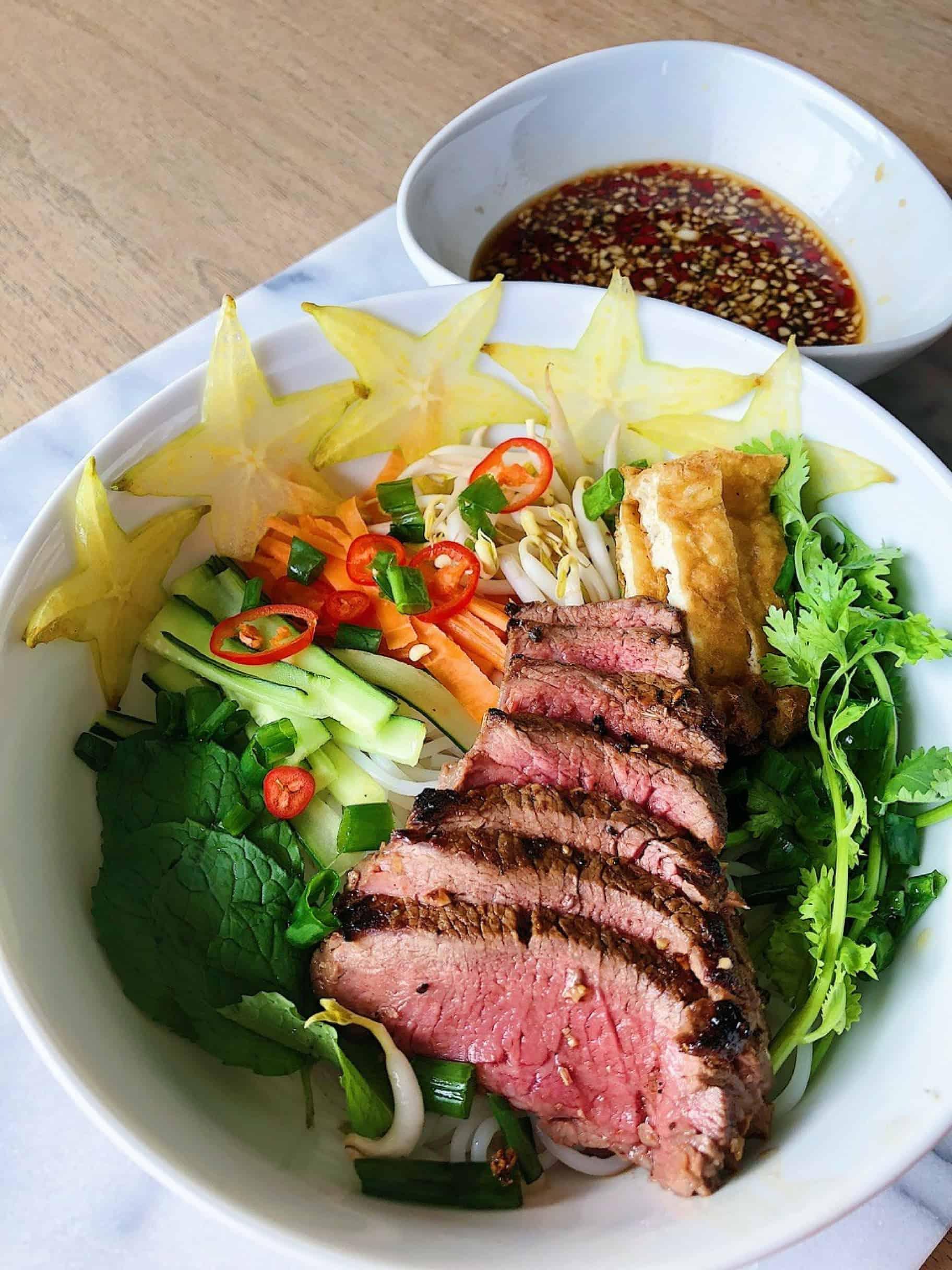 Beef Tenderloin Vietnamese Noodle Bowl