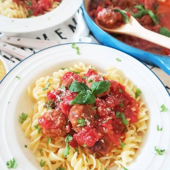 Chorizo and beef sausage meatballs with fusilli pasta