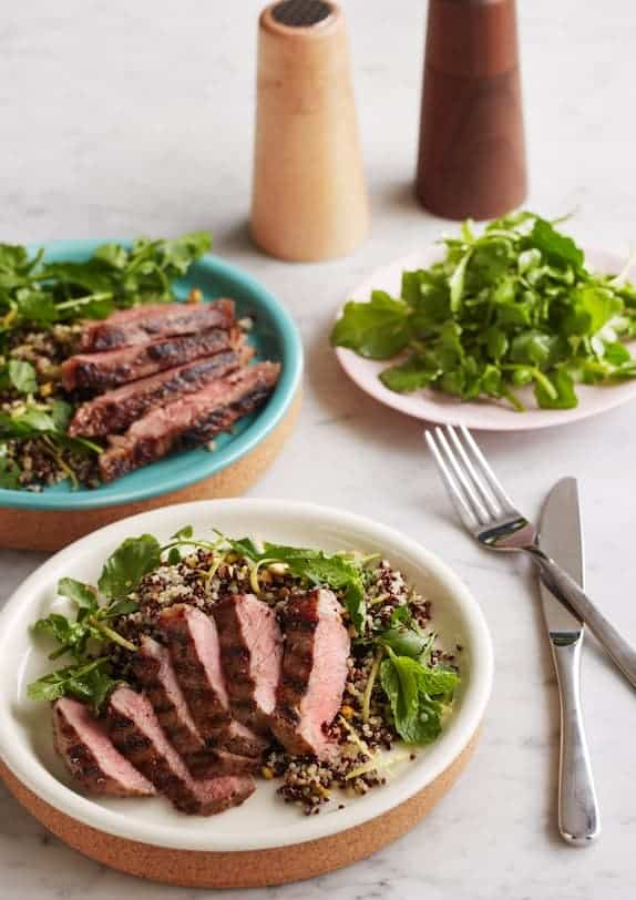 Grilled Eye Fillet with quinoa pistachio salad
