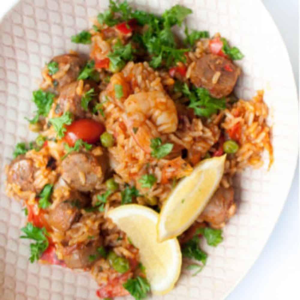 The Meat Club Beef Sausage & Prawn Brown Rice Paella