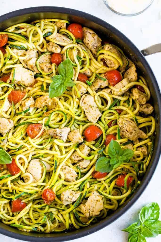 Chicken breast with pesto zucchini noodles