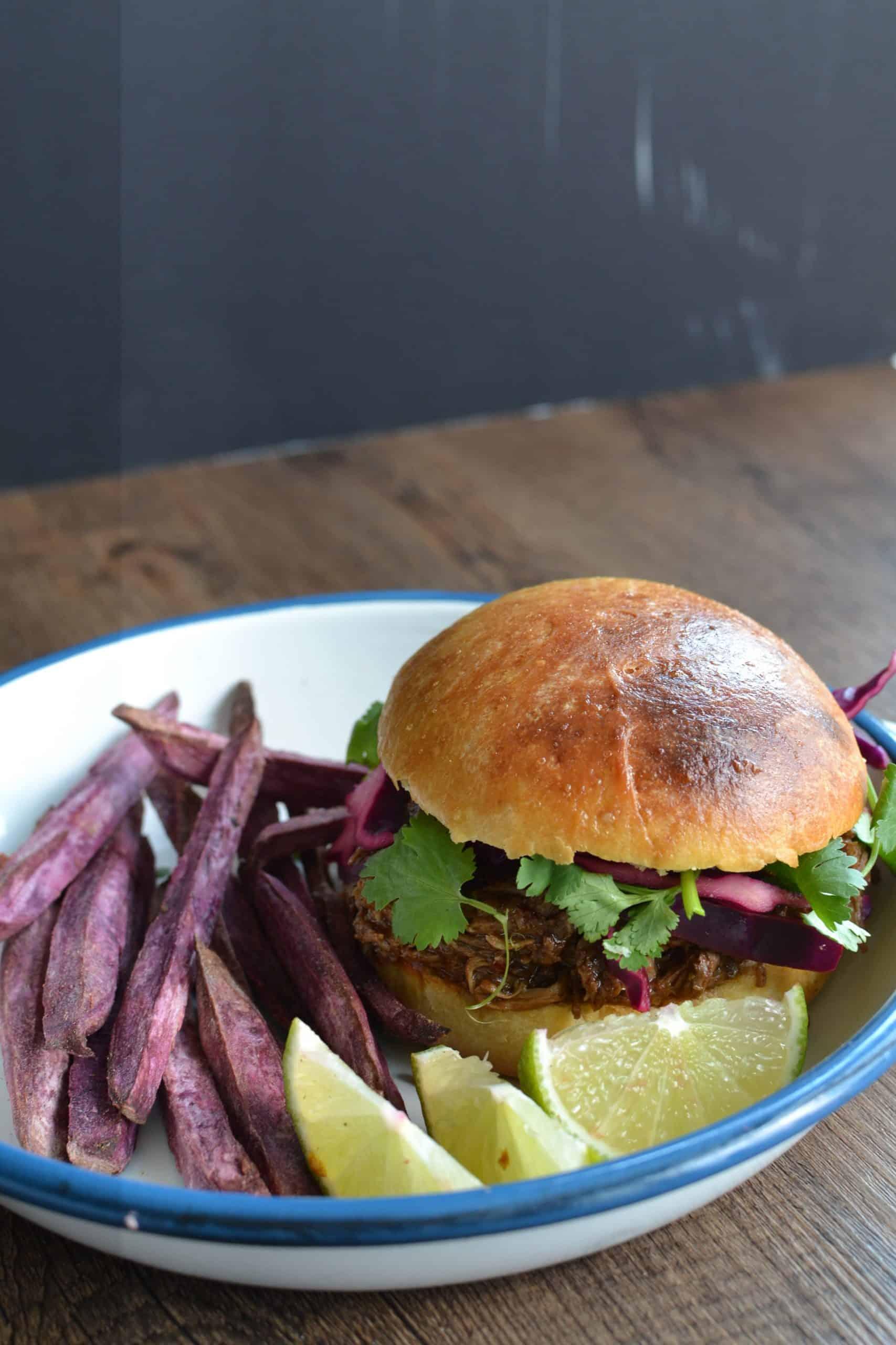Pulled BBQ lamb leg burger with purple slaw
