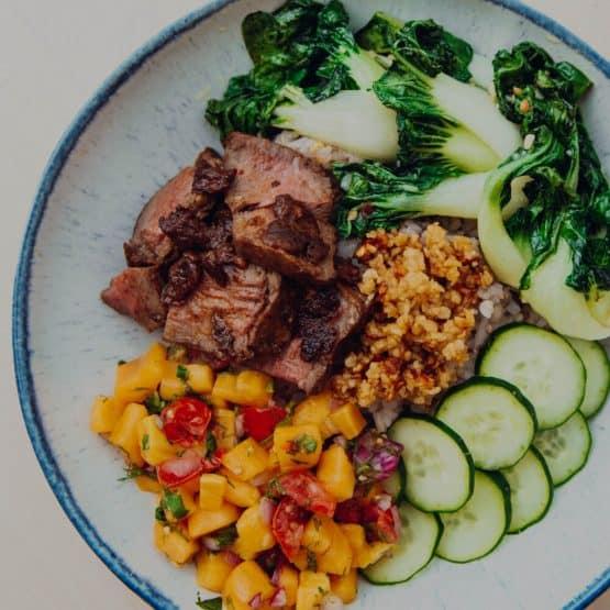 Chipotle steak poke bowl with jackfruit salsa