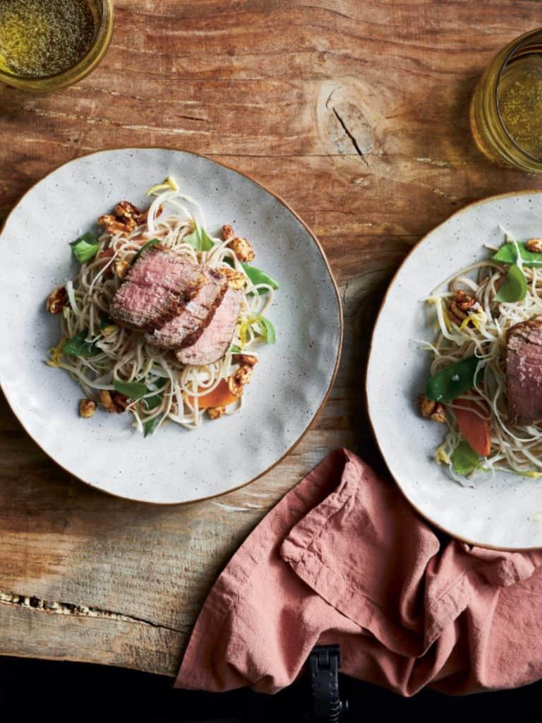 Soba Noodle Salad with Steak and Stir-fried Vegetables