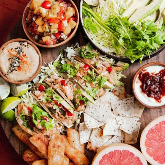 Lemongrass Salmon Tacos Platter
