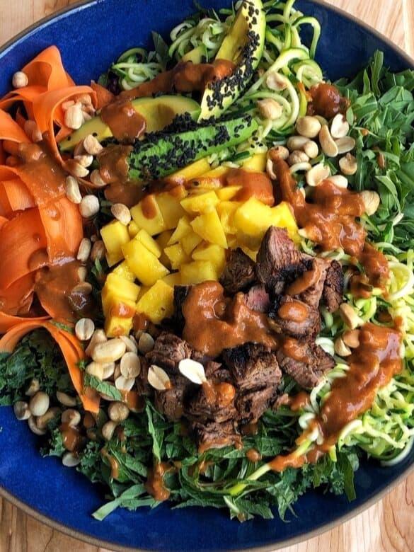 Spring Roll Steak Salad with Peanut Dressing