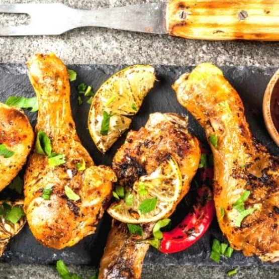 Barbecued red curry spiced chicken