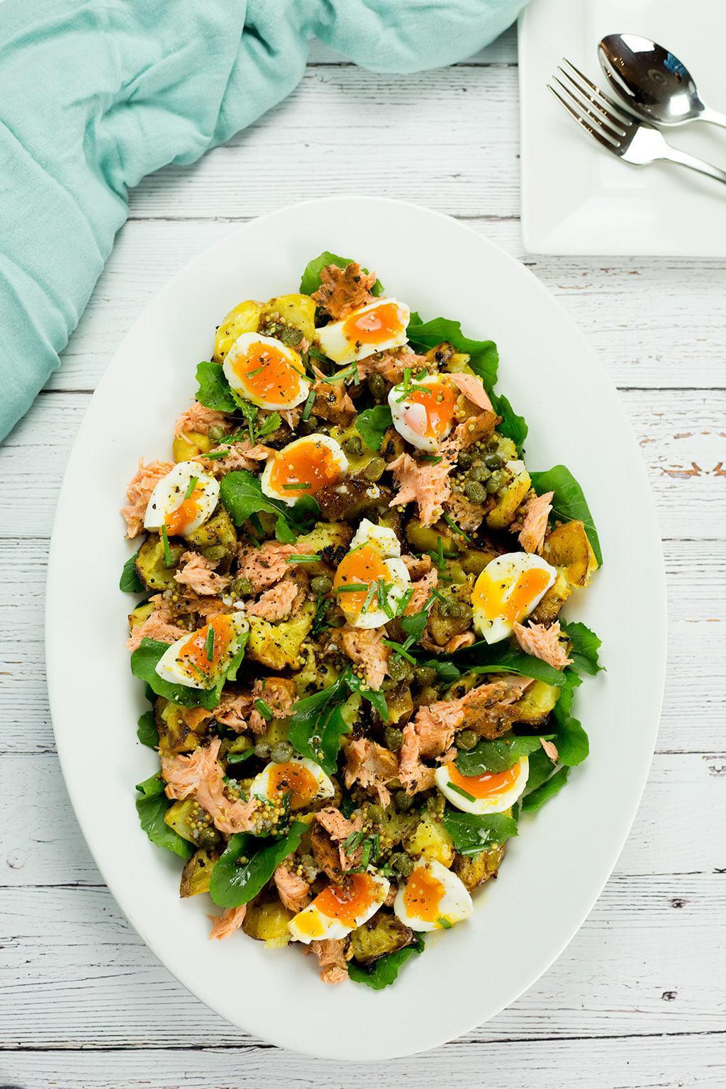 Hot Smoked Salmon Potato and Egg Salad