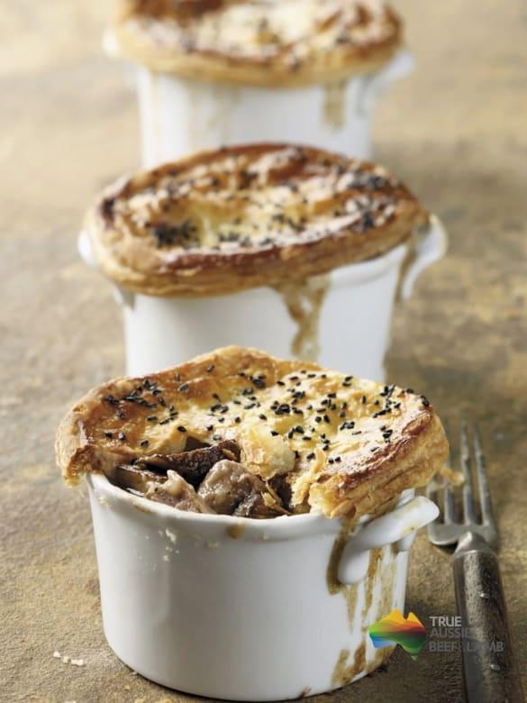 Lamb mushroom and beer pot pies