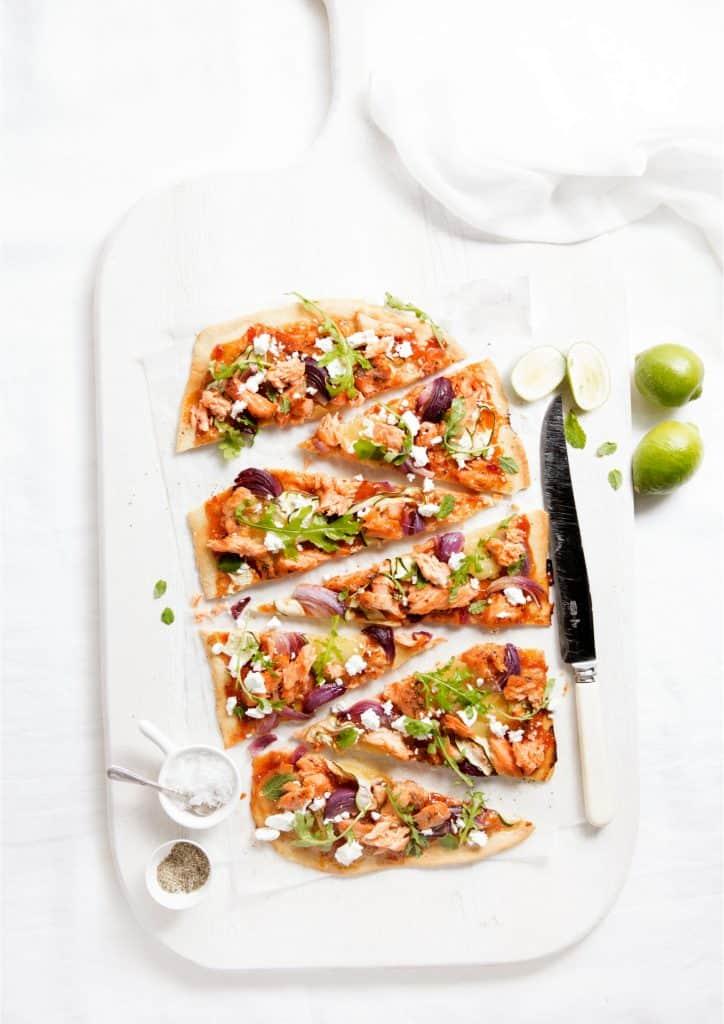 Courgette Sweet Chilli Salmon Pizza