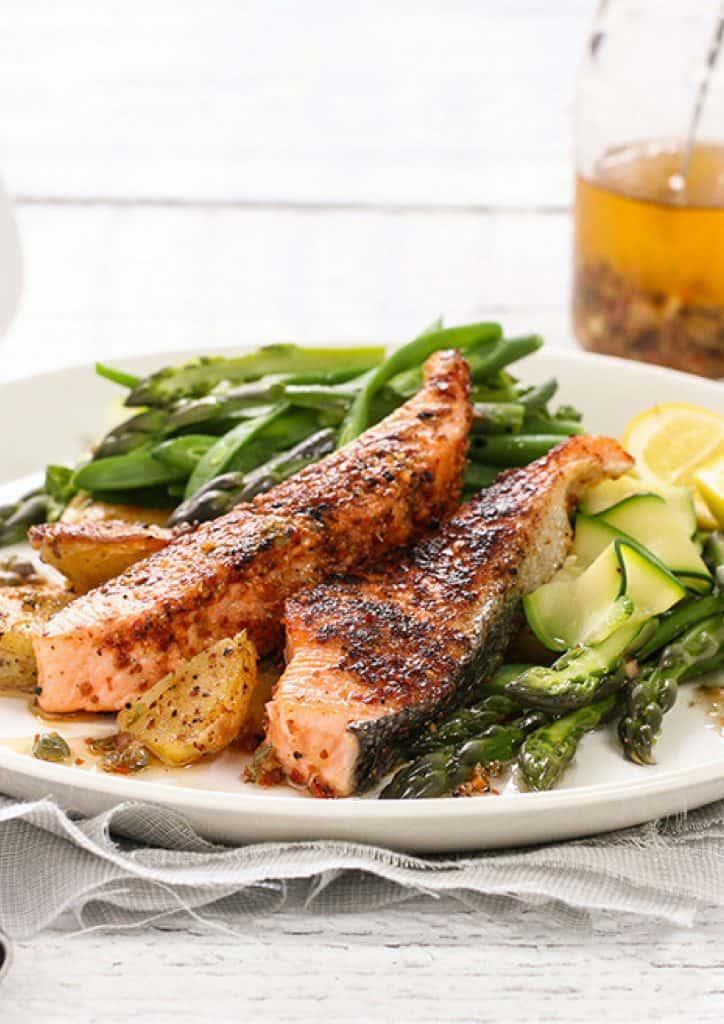 Peri peri Salmon Loins and Asparagus