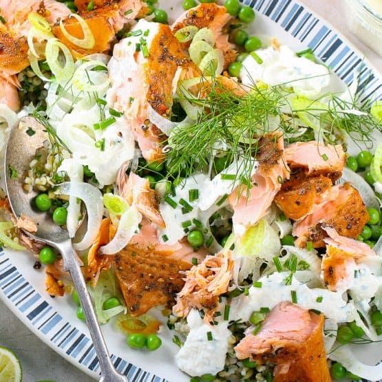 Freekah Fennel Salmon Salad with Horseradish Chive Dressing
