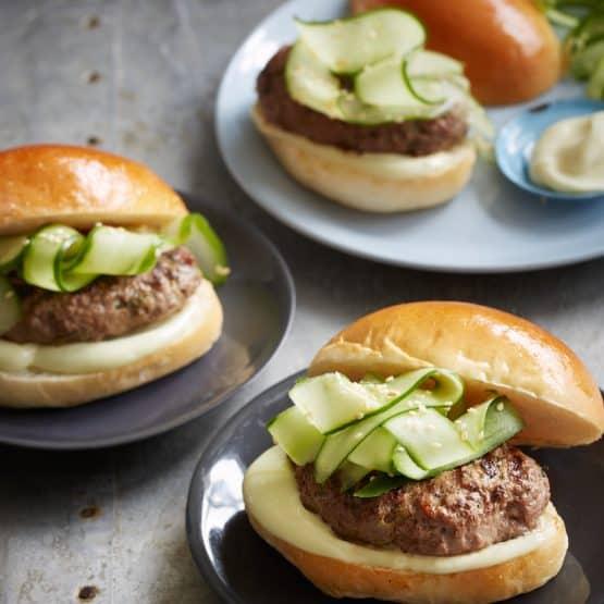 Miso Beef Burgers with Wasabi mayonnaise
