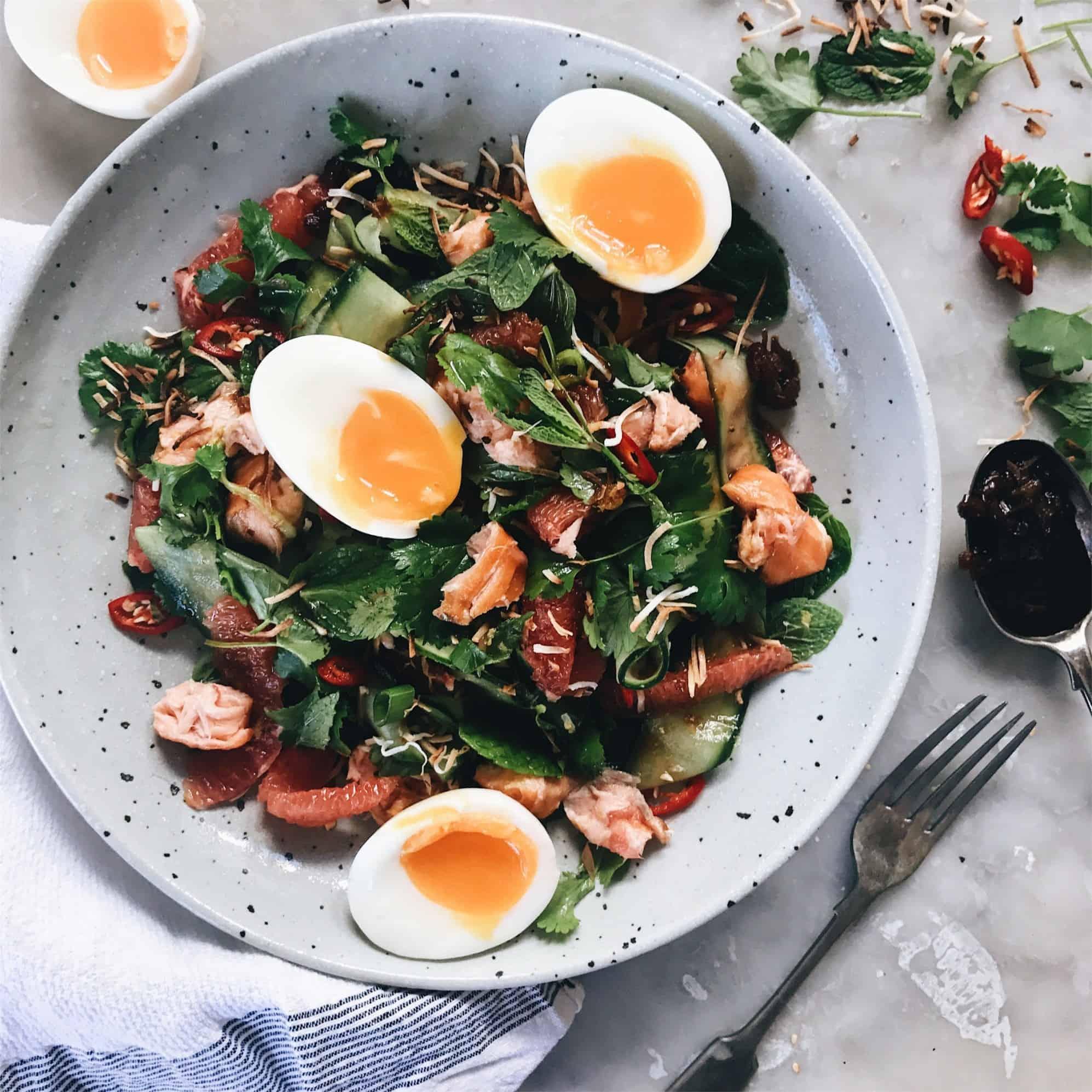 Hot Smoked Salmon & Pink Grapefruit Salad