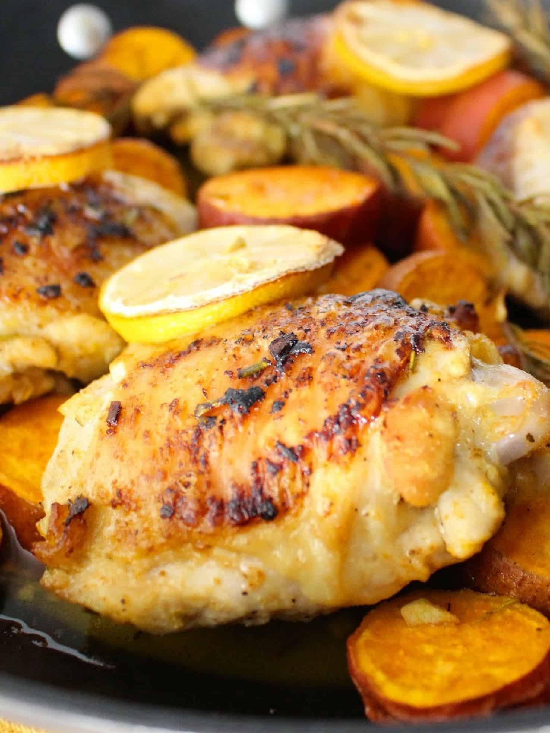 Lemon Rosemary chicken with sweet potatoes