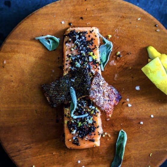 Grilled Salmon with Crispy skin and Furikake Seasoning