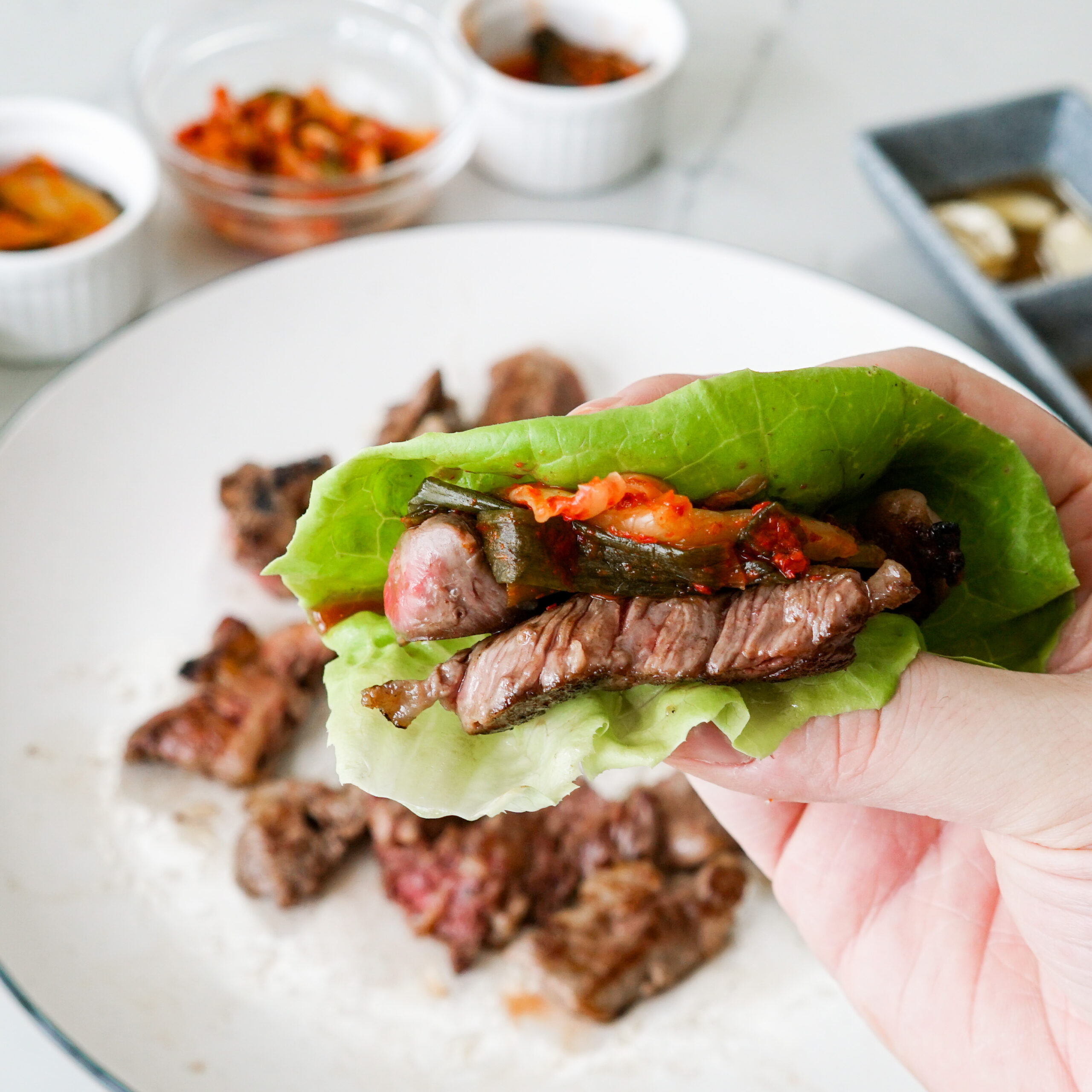 Korean Beef Lettuce Cups with Kimchi